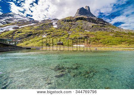 Trollstigen, Norway - June, 2019: Trollstigen Viewing Or Viewpoint Platform. Trollstigen Or Trolls P