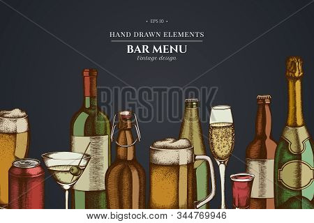 Design On Dark Background With Glass, Champagne, Mug Of Beer, Alcohol Shot, Bottles Of Beer, Bottle