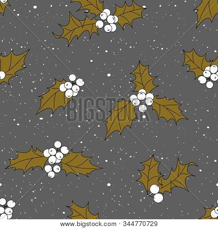 Seamless Pattern With Holly Leaves And Berries. Gray Background And Ocher Leaves.