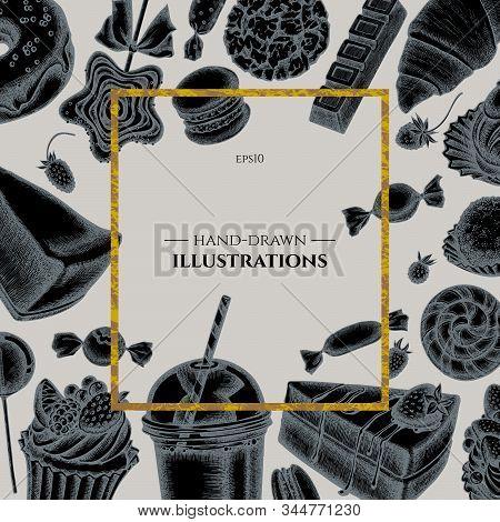 Badge Over Design With Cinnamon, Macaron, Lollipop, Bar, Candies, Oranges, Buns And Bread, Croissant
