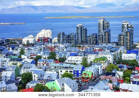 Reykjavik, Iceland - August 26, 2019 Harbor Entrance Colorful Red Green Blue Houses Houses Apartment