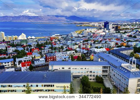 Reykjavik, Iceland - August 26, 2019 Harbor Colorful Red Green Blue Houses Houses Apartment Building