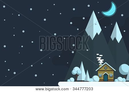 Winter Night Landscape. Houses On A Background Of Mountains. Vector Flat Illustration