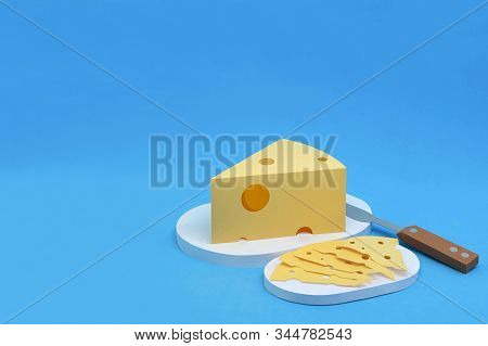 Paper Triangular Piece And Slices Of Maasdam Cheese With Large Holes. Dairy Products Made From Paper