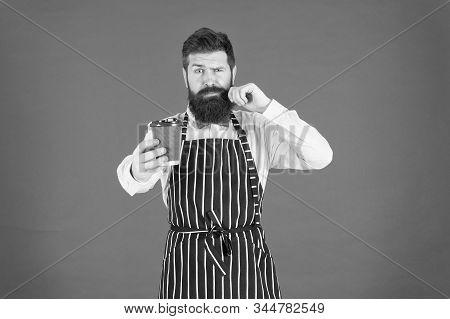 Barista Hipster Chef Apron. Elegant Confident Bartender. Skilled Servant. Male Drink Coffee. Bearded