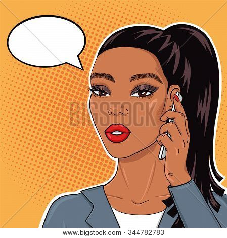 Pop Art African American Business Woman Talking On Mobile Phone With Speach Bubble For Text, Vector