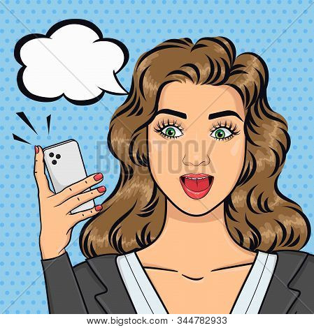 Pop Art Caucasian Excited Business Woman With Open Mouth In Suit Texting On Mobile Phone, Text Bubbl