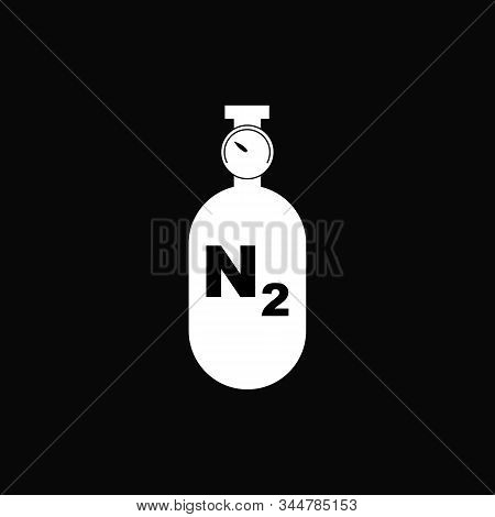 Nitrogen Gas Cylinder With Manometer. Vector Illustration Isolated On White Background