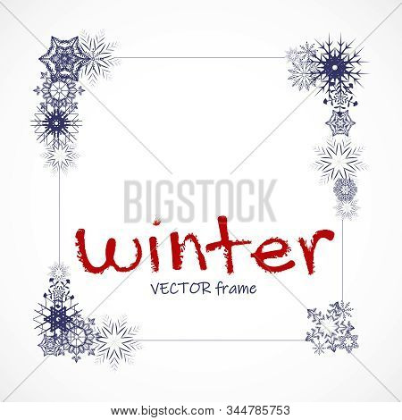 Vector Winter Empty Photo Frame With Snowflakes On Transparent Background. Photograph Blank Holiday