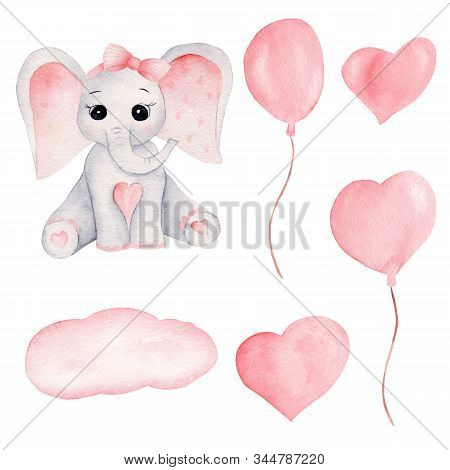Baby Elephant And Pink Balloons Hand Drawn Watercolor Illustrations Set. Little Grey Elephant Calf W