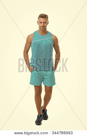 Athletic Body. Guy Sport Outfit. Fashion Concept. Man Model Clothes Shop. Sport Style. Menswear And