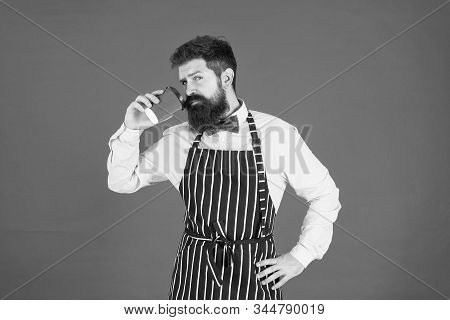 Barista Hipster Chef Apron. Elegant Confident Bartender. Male Drink Coffee. Bearded Man Take A Minut