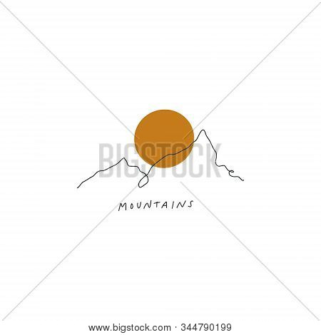 Mountains Line Art Print Abstract Modern Digital Painting Terndy Terracotta Color Abstraction Poster