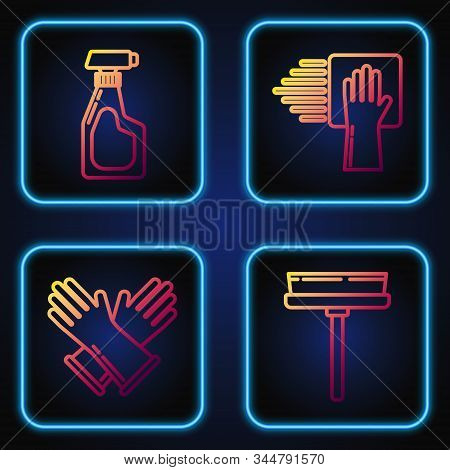 Set Line Squeegee, Scraper, Wiper, Rubber Gloves , Cleaning Spray Bottle With Detergent Liquid And C