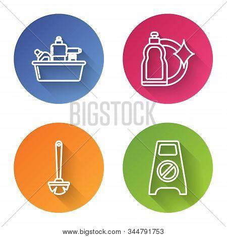 Set Line Plastic Bottles For Liquid Dishwashing Liquid, Plastic Bottles For Liquid Dishwashing Liqui