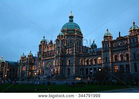 Victoria Bc,canada,december 30th 2019.the Parliament Buildings Of The Bc Legislature In Victoria Bc