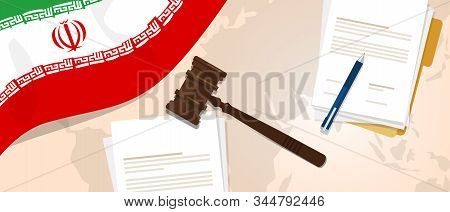 Iran Law Justice Judicial Trial Legal. Document Paper And Hammer Or Gavel With Iranian Republic Flag
