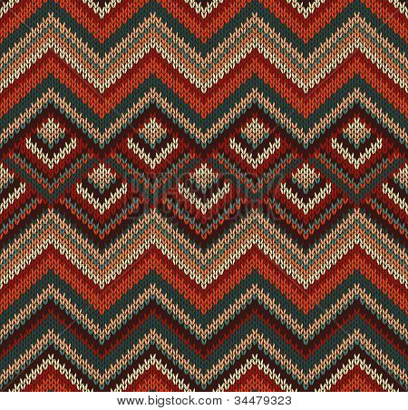 Beautiful Knitted Fabric Pattern Red Green Knit Style Seamless Vintage Texture poster