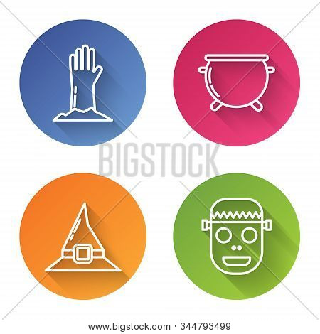 Set Line Zombie Hand , Halloween Witch Cauldron , Witch Hat And Zombie Mask . Color Circle Button. V