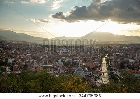 Panorama Of The City Center Of Prizren, Kosovo, With Minarets Of Mosques And The Bistrica River. Pri