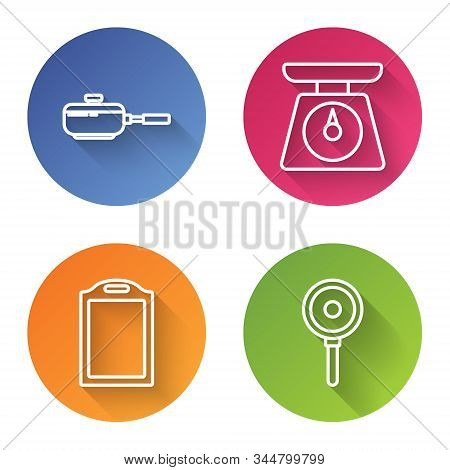 Set Line Frying Pan , Scales , Cutting Board And Frying Pan . Color Circle Button. Vector
