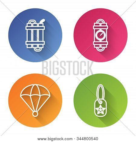 Set Line Detonate Dynamite Bomb Stick, Detonate Dynamite Bomb Stick And Timer Clock, Parachute And M