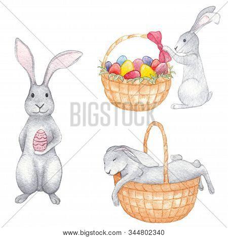 Set Watercolor Easter Rabbits. Bunny Asleep In A Basket.easter Rabbit With Basket Of Eggs. Bunny Wit