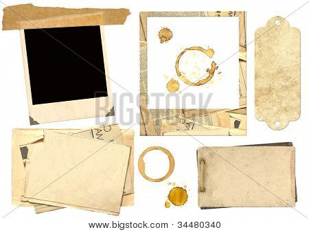 Collection elements for scrapbooking. Objects isolated over white