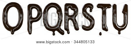 Chocolate font food type for sweet design. 3d render of o p q r s t u letters made from delicious dark chocolate.