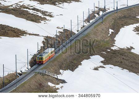 Train In Kleine Scheidegg To Jungfrau In Swiss