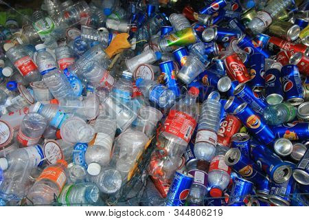 TAKUAPA, THAILAND - 12 JANUARY 2020: Recycling. Drinks cans and bottles collected to recycle