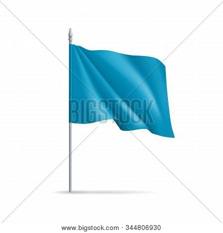 Blue Rectangular Flag On Flagpole Isolated On White Background. Realistic Expo Banner For Outdoor Pr