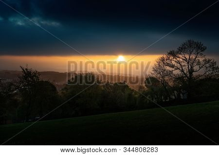 Beautiful Hazy Sunset In County Cork. Ireland