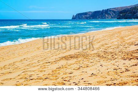 Beach Near Mediterranean Sea In Buggerru In South Sardinia Reflex
