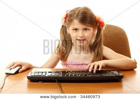 child with internet dependence with keyboard looking at camera like in monitor, girl 8 year old, isolated on white