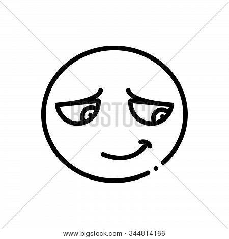 Black Line Icon For Embarrassing Shy Shamefaced Emoji Character Shameful Disgraceful