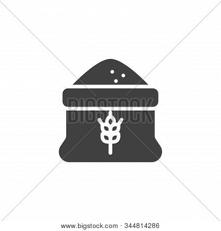 Open Flour Sack Vector Icon. Filled Flat Sign For Mobile Concept And Web Design. Wheat Flour Bag Gly