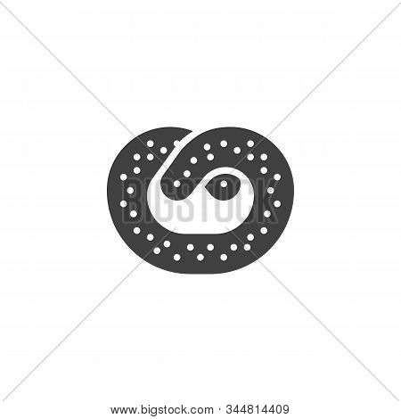 Baked Pretzel Vector Icon. Filled Flat Sign For Mobile Concept And Web Design. Salty Pretzel Glyph I