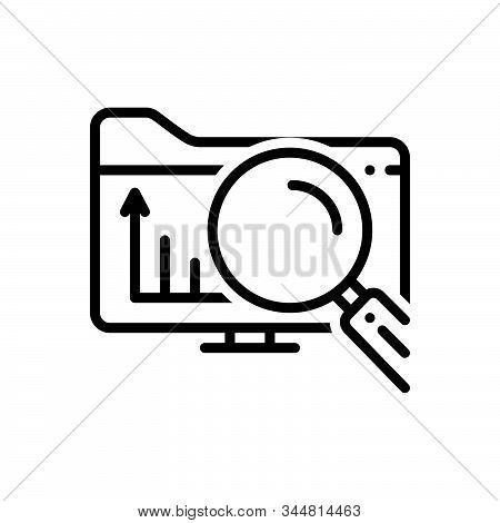 Black Line Icon For Exploratory Explorative Research Investigation Inquiry
