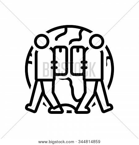 Black Line Icon For Expat Expatriate Migrant Diaspora Emigre