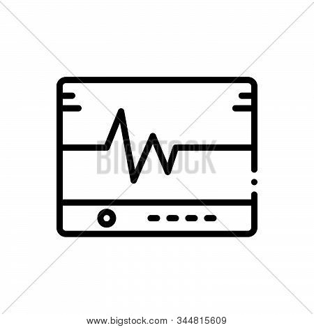 Black line icon for flatlining  lifeline  ecg medical heart monitor poster