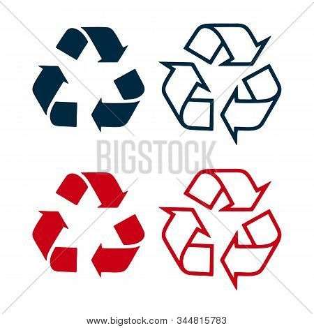 Arrow Recycling Vector Icon Isolated Flat, Triangular Recycling Symbol, Recycle Sign Icon Modern, Ar