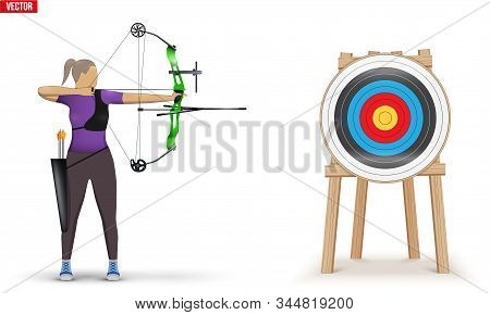 Archer With Bow Archery And Target. Athlete Archer Woman Aiming An Arrow. Infographics Of Archery Sp