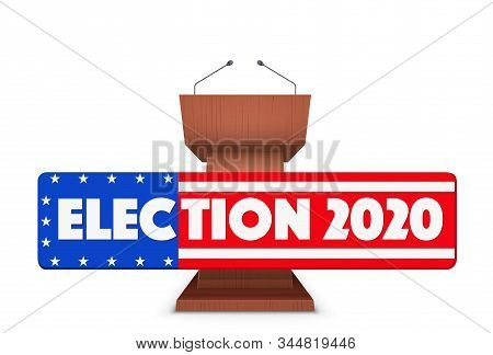Wooden Podium Speaker Tribune With Us Election 2020 Symbol. Banner In Form Of Flag Of United States.