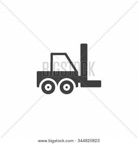 Forklift Truck Vector Icon. Filled Flat Sign For Mobile Concept And Web Design. Shipping And Deliver