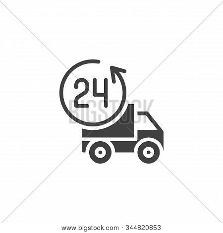 24h Delivery Truck Vector Icon. Filled Flat Sign For Mobile Concept And Web Design. Twenty Four Hour