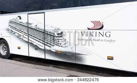 Budapest Hungary 03 16 2019 A Viking Cruises Bus In Budapest. Viking Cruises Is A Cruise Line Provid