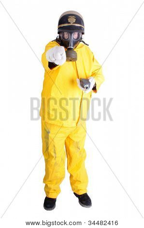 Policeman in a HazMat suit with a geiger counter at a nuclear disaster area pointing at the viewer