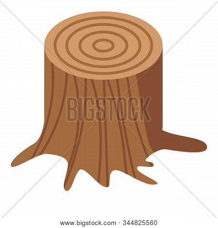 Wood Stump Icon. Isometric Of Wood Stump Vector Icon For Web Design Isolated On White Background