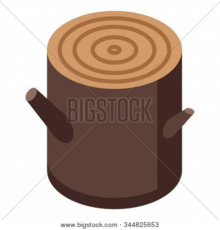 Branch Tree Stump Icon. Isometric Of Branch Tree Stump Vector Icon For Web Design Isolated On White